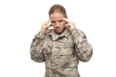 Sad And Stressed Female Airman